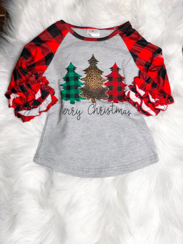 Merry Christmas Buffalo Plaid Raglan