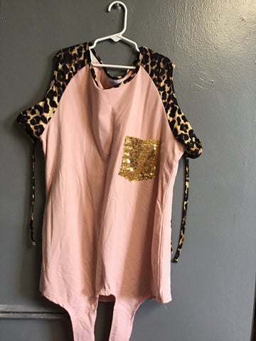 Mommy & Me Pink Cheetah Cold Shoulder Top
