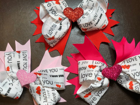 """ I Love You"" ribbon bow"