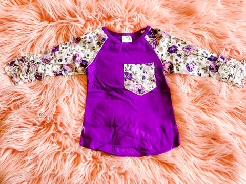 Purple Floral Raglan