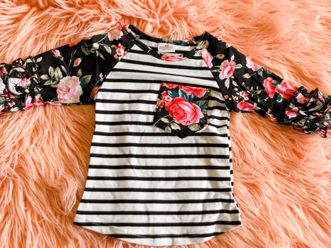 Black Floral Striped Raglan