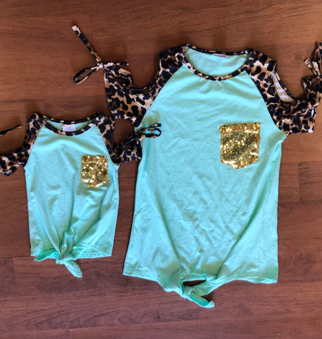 Mint Cheetah Cold Shoulder Mommy