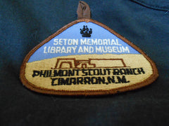 Seton Memorial Library and Museum Tear Drop shaped Pocket Patch