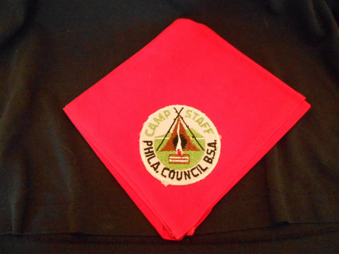 Camp Staff Philadelphia Council Patch on red Neckerchief