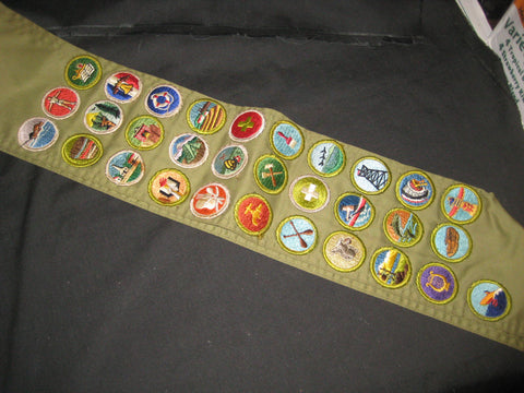 Merit Badge Sash, 31 Solid Merit Badges