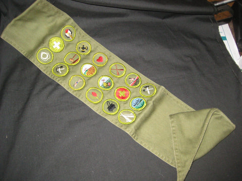 Merit Badge Sash, 18 Twill and Solid badges, 1960s