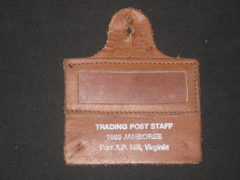 1989 National Jamboree Trading Post Staff Leather Name Tag