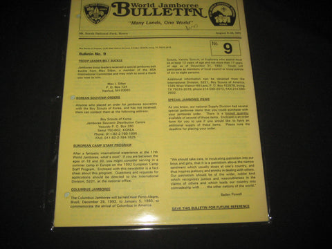 1991 World Jamboree Bulletin Issues 1 to 9 for BSA Leaders