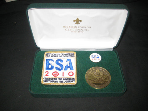 2010 BSA 100th Anniversary Patch, Medallion and Lapel Pin in box