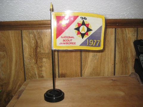 1977 National Jamboree Desk Flag with stand