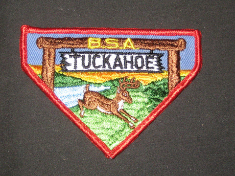 Camp Tuckahoe, red border, 1970s triangle Pocket Patch
