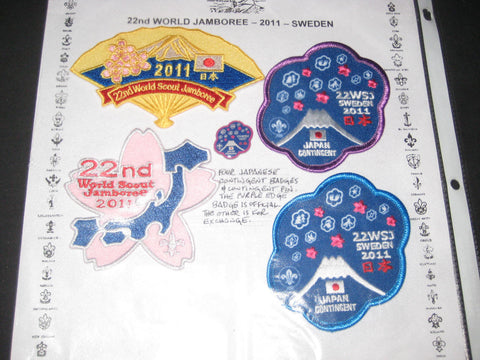 2011 World Jamboree Japan Contingent Pin and 4 Patches
