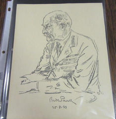 Baden Powell 1933 Pencil Drawing Portrait