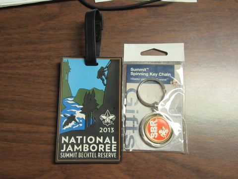 2013 National Jamboree Rubber Luggage Tag & Summit Spinning Key Chain