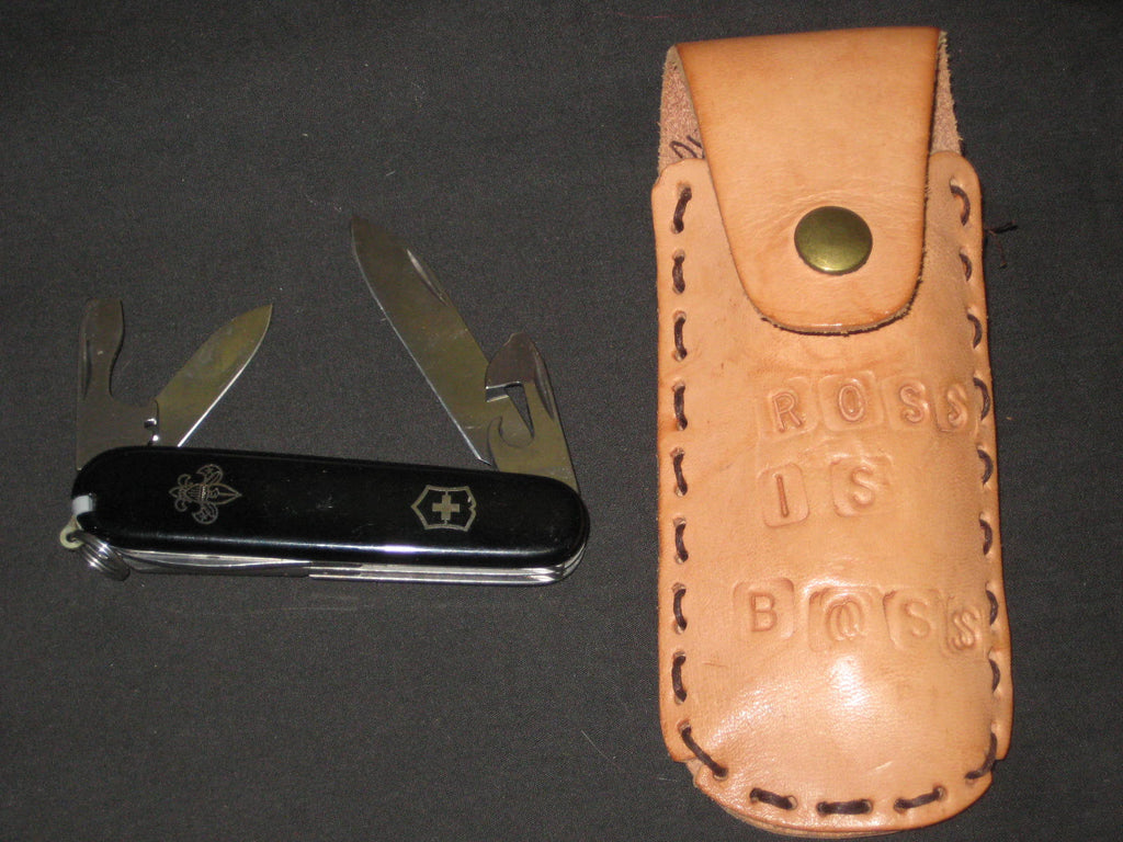 Boy Scout Black Handle 6 tool Pocket Knife in leather Case