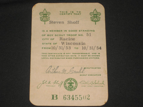 1954 BSA Registration Card