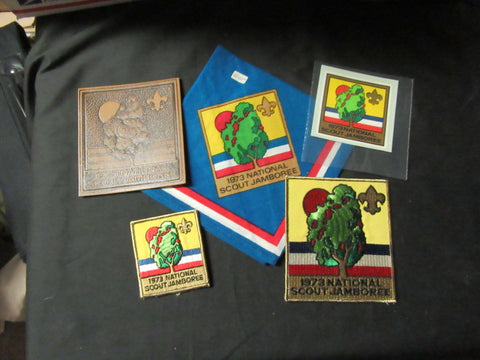 1973 National Jamboree Leather, Pocket & Jacket Patches, Decal & Neckerchief