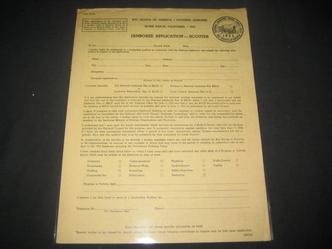 1953 National Jamboree Scouter Application Blank