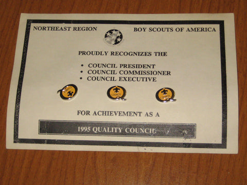 1995 3 Quality Council Pins on Card