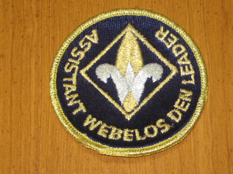Assistant Webelos Den Leader Trained Patch, gold mylar border