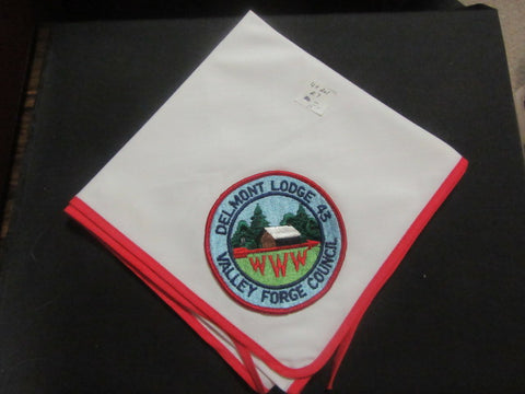 Delmont 43 r7 on white Neckerchief with Red Border
