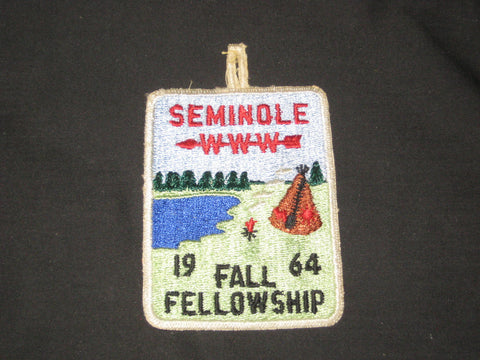 Seminole 85 1964 Fall Fellowship Patch ex1964