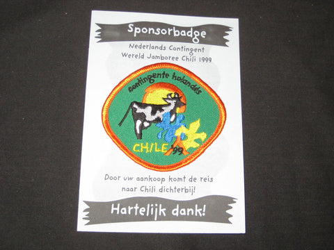 1999 World Jamboree Holland Sponsor Badge on card
