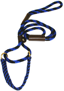 "3/8"" Solid Braid Martingale Style Lead  Black/Blue Spiral"