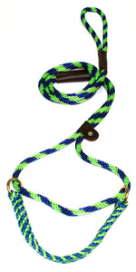 "3/8"" Solid Braid Martingale Style Lead Lime Green/Pacific Blue Spiral"