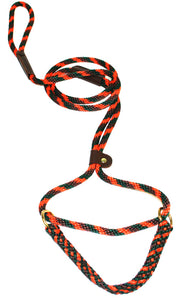 "3/8"" Solid Braid Martingale Style Lead Orange Camouflage"