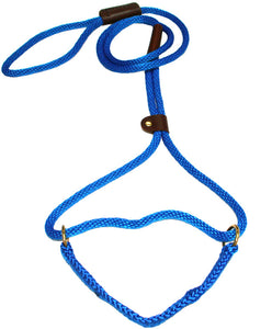 "3/8"" Solid Braid Martingale Style Lead Pacific Blue"