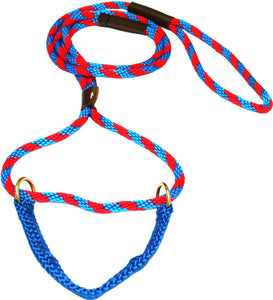 "3/8"" Solid Braid Martingale Style Lead Pacific Blue/Red Spiral"
