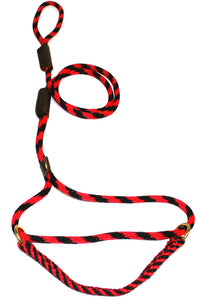 "3/8"" Solid Braid Martingale Style Lead Red/Black Spiral"