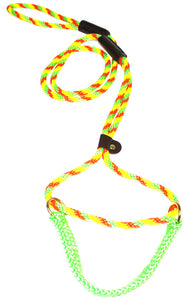 "3/8"" Solid Braid Martingale Style Lead Twisted Citrus"