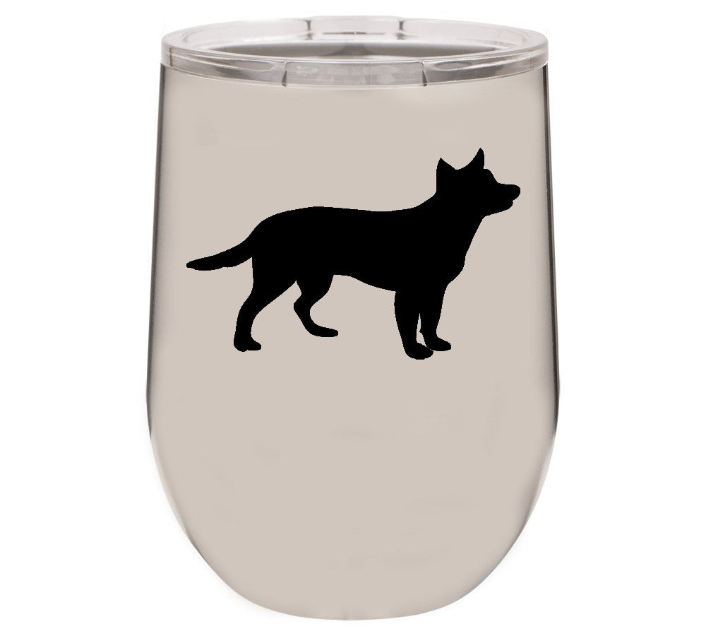 Australian Cattle Dog 12 oz Vacuum Insulated Stemless Wine Glass
