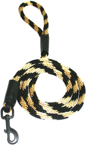 "Black Ops Collection 1/2"" Solid Braid Snap Lead  Black/Gold Spiral"