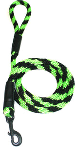 "Black Ops Collection 1/2"" Solid Braid Snap Lead  Black/Lime Green Spiral"