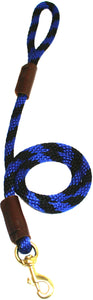 "1/2"" Solid Braid Snap Lead  Black/Blue Spiral"