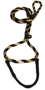 "1/2"" Solid Braid Martingale Style Lead  Black/Gold Spiral"