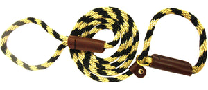 "3/8"" Solid Braid Slip Lead  Black/Gold Spiral"