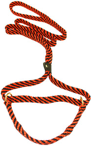 "5/8"" Flat Braid Martingale Style Lead Black/Orange Spiral"
