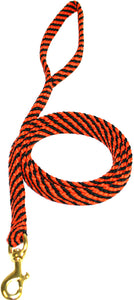 "5/8"" Flat Braid Snap Lead Black/Orange Spiral"