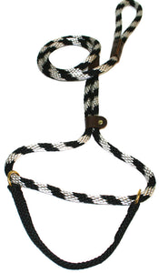 "1/2"" Solid Braid Martingale Style Lead  Black/Silver Spiral"