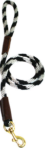 "1/2"" Solid Braid Snap Lead  Black/Silver Spiral"