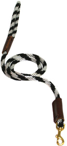 "3/8"" Solid Braid Snap Lead Black/Silver Spiral"