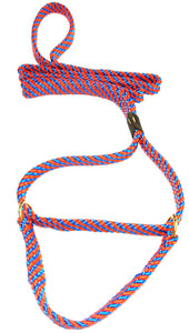 "5/8"" Flat Braid Martingale Style Lead Blue/Orange Spiral"
