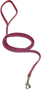 "1/4"" Flat Braid Snap Lead Blue/Orange Spiral"