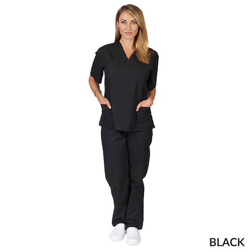 Black Unisex Solid V-Neck Scrub Set  Have it  Personalized