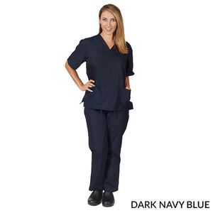 True Navy Blue Unisex Solid V-Neck Scrub Set  Have it  Personalized