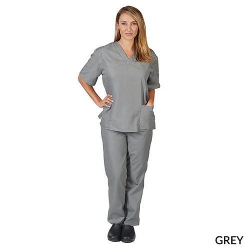 Grey  Unisex Solid V-Neck Scrub Set  Have it  Personalized